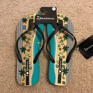 Ipanema Beach Theme Flip Flop Sandals - Brand New